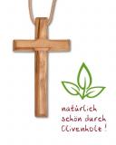 Holzkreuz aus Olivenholz 7 x 4,5 cm mit Lederkordel